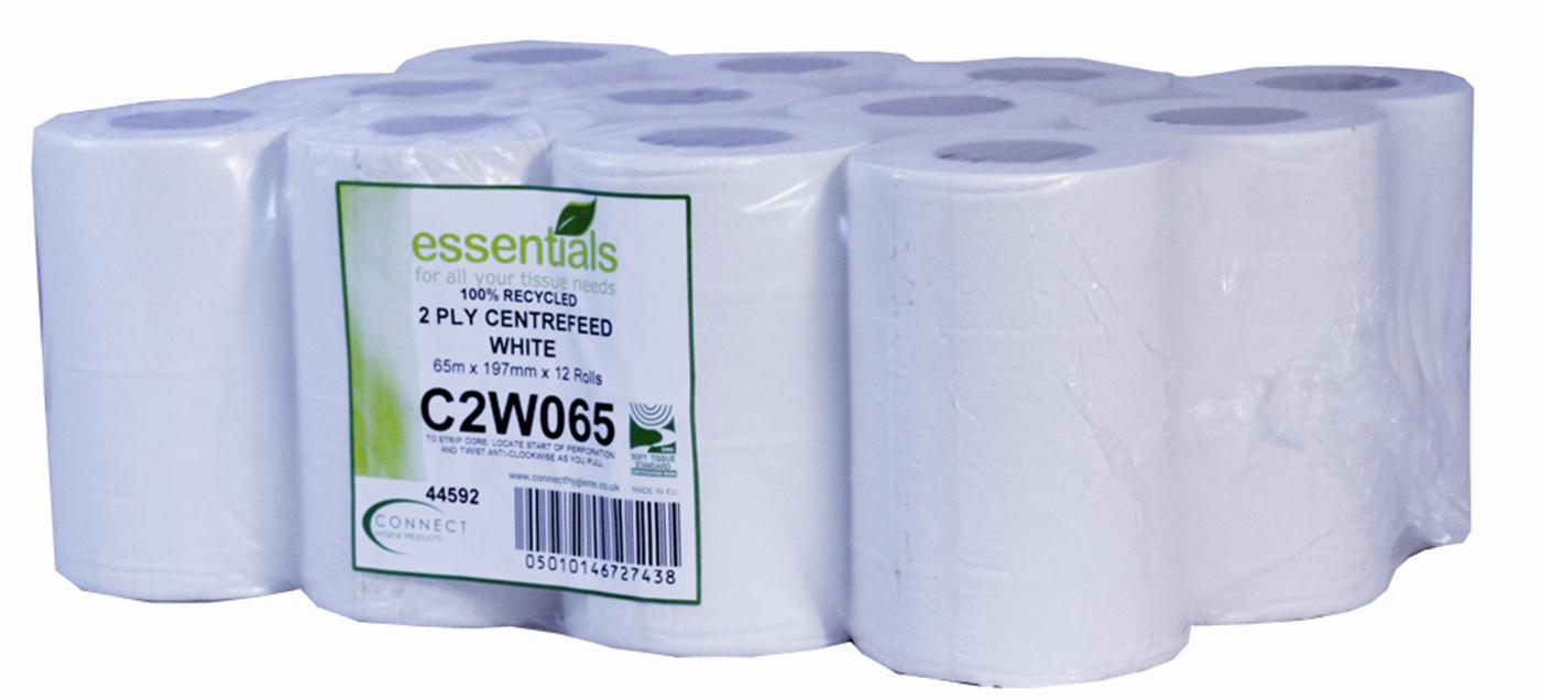 White Economy 2 Ply Mini Centrefeed Roll