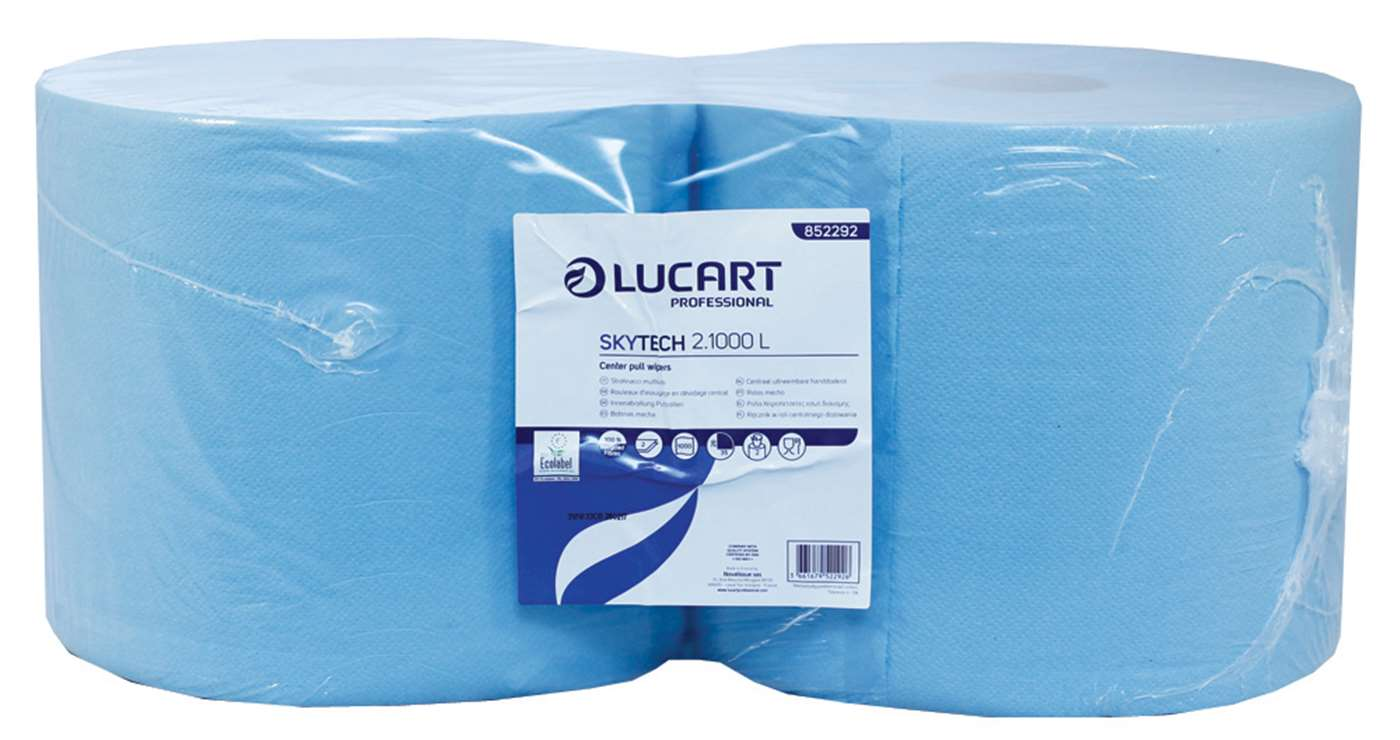 SkyTech Blue Wiping Roll 2 Ply Recycled  26cm x 350m