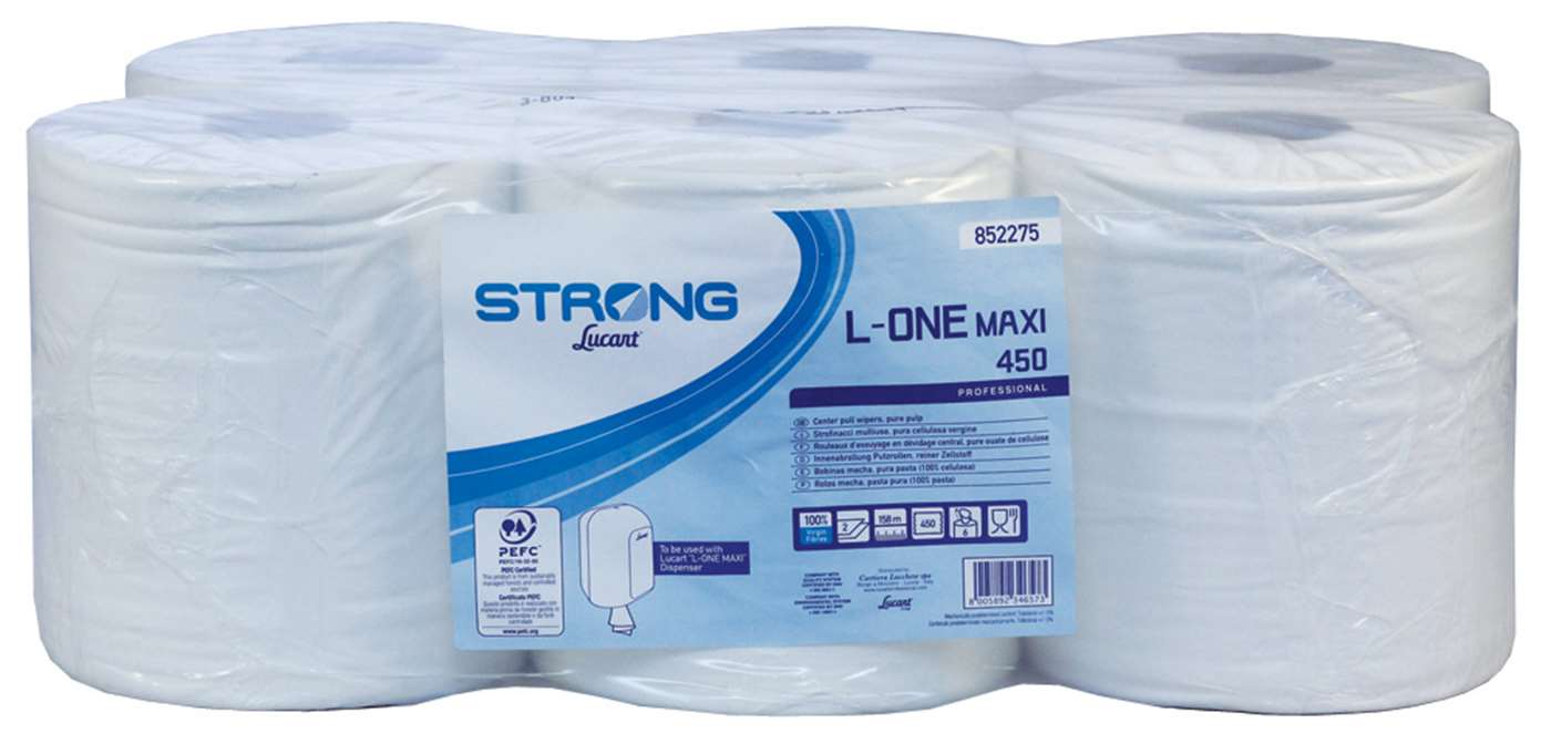 Lucart L-ONE Maxi Strong 2 Ply White Centrefeed Rolls
