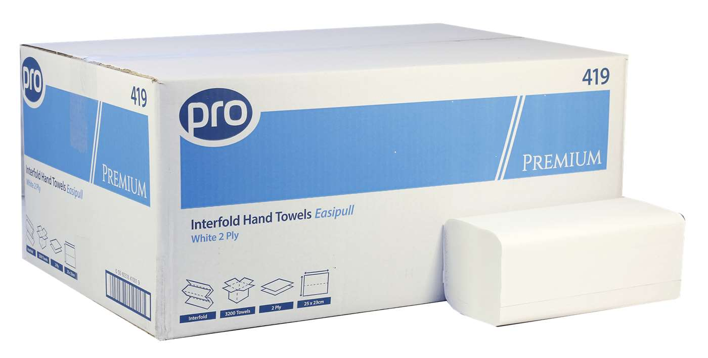 PRO Premium Easipull 2 Ply White Paper Hand Towel