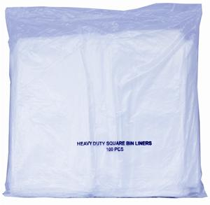 White Heavy Duty Square Bin Liners