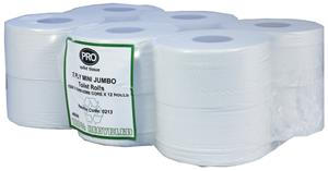 Mini Jumbo Toilet Rolls 150m 2 Ply White Recycled 60mm core